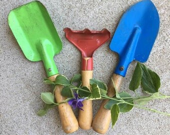 Colorful Vintage Child's Garden Tools / Garden Hand Shovels and Rake