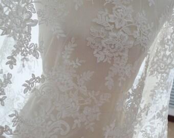 off white cord lace fabric, alencon lace fabric, bridal lace fabric, ivory lace fabric by the yard