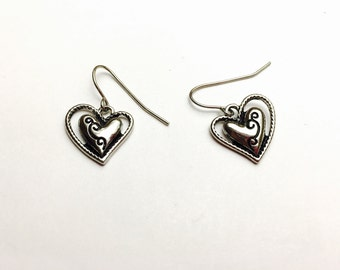 Heart Shape Earrings, Vintage Silver Tone, Heart Figural, Clearance Sale, Item No. B505