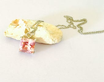 Vintage pink CZ Pendant/Necklace, stamped 18 KGF, Clearance SALE, Item No. S460