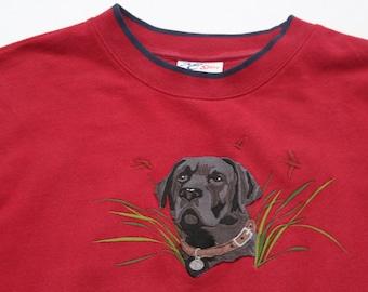 Vintage Dog Sweater Labrador Sweatshirt Jumper Burgundy Maroon Red Navy Contrast Edge-Black Lab Dogs Puppy Animal retro embroidery unisex XL