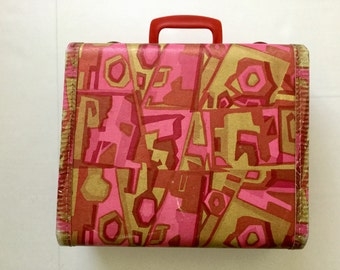 Vintage  Suitcase- Retro Travel Bag- sixties pink kitsch hard case- luggage - solid purse- 1960s 60s-