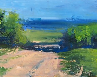 """Original 8.5"""" x 11"""" Oil Painting by whitney knapp bowditch, abstract landscape on paper, contemporary fine art."""
