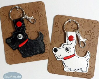 Black or White Scottie Dog, Westie Terrier Key Fob, Purse Charm