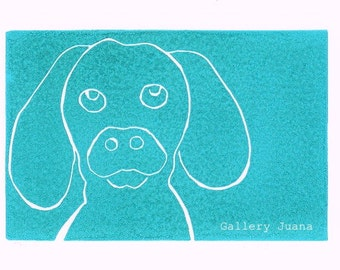 puppy linocut, turquoise