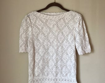 Vintage 1980s Leslie Fay Oatmeal Boat Neck Diamond Knit Short Sleeve Sweater