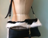Cowhair and leather handbag clutch bag cowhair and leather purse monochrome bag