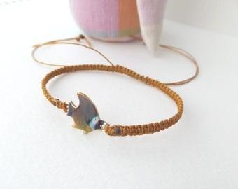 Tropical Fish Bracelet, Gold Macrame Bracelet, adjustable bracelet, beaded cord bracelet - unique design