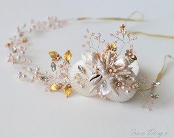 Gold and pale pink wedding head wreath with rhinestones. Bridal seashell wreath. Mermaid Head Wreath .Beach Wedding Head Circlet