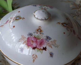 Crown Devon Fieldings Trent England  3 Piece Round Covered Butter Dish Circa Early 1900's!