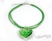 Green glass heart necklace green choker lampwork necklace glass jewelry statement necklace glass pendant murano glass bead necklace gift