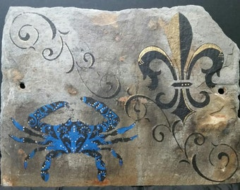 Custom made Blue Crab and Fleur De Lis on Recycled New Orleans Roofing Slate