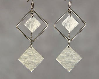 Silver hammered texture triple sqauare long dangling earrings Bridesmaid gifts Free US Shipping handmade Anni designs