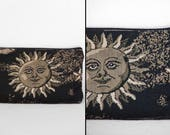 Sun + Moon POUCH 1990s Janine King Designs Celestial Design Makeup Bag