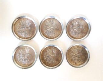 Vintage Aluminum Coasters, Duck or Goose Coasters, Ships Free