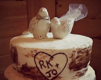 Love Birds Cake Topper / Cake Topper / Wedding Cake Topper / Rustic Bird Cake Topper / Natural Cake Topper