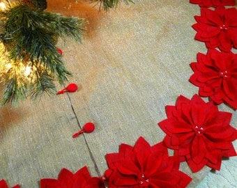 "60"" Burlap Christmas Tree Skirt with silver threads and  Red Poinsettias *FREE SHIPPING*"