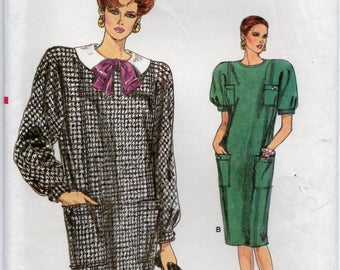 Loose Fitting Straight Dress Front Princess Seams Back Zipper Hemline Slit Plus Size 14 16 18 Sewing Pattern 1986 Very Easy Vogue 9673
