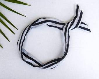 Black and White Stripe Headwrap