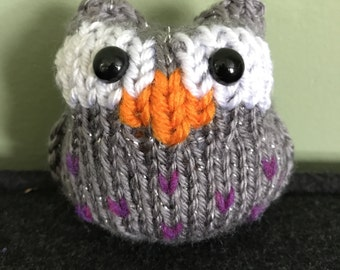 Knitted Owl - Sparkly Moonlit