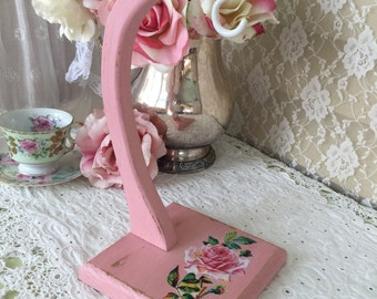 Shabby Banana Holder, Rack, Banana Hook, Banana Tree, Shabby Cottage Chic, Vintage Kitchen, Pink Kitchen, shabby pink roses, fanny pippin