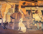 Vintage Wood Marquetry Victorian Tavern Scene Wall Plaque