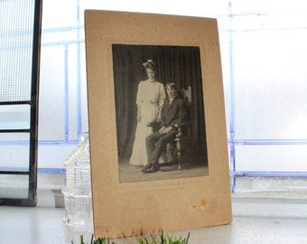 Antique Photograph Cabinet Card Man and Woman 9 x 6