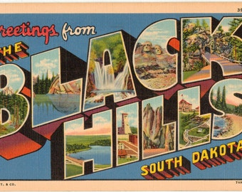 Linen Postcard, Greetings from the Black Hills of South Dakota, Large Letter, 1942