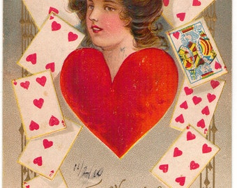 Vintage Valentine Postcard, Queen of My Heart, Girl Surrounded by Heart Playing Cards