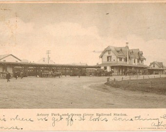 Vintage Postcard, Asbury Park and Ocean Grove, New Jersey, Railroad Station, 1907