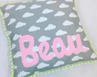 Baby Gift, Name Cushion, pom pom trim, Baby Boy, Baby Girl, Baby Shower