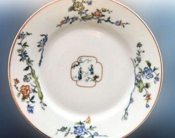 Haviland Limoges France Antiqe Scenic Oriental Cabinet Plate Blue Floral