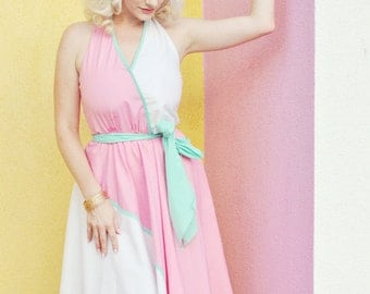 80s Does 50s Palm Springs Miami Color Block Wrap Dress
