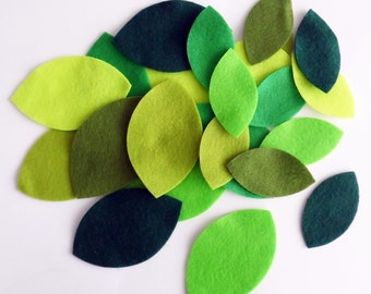 Felt Leaves, 20 pieces, Die Cut Shapes, felt shapes, Party Supply, DIY Wedding, Craft supply, leaves, green leaves, felt supplies,