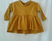 Girls ruffle shirt top mustard yellow baby toddler modern high lo long sleeve 0-3 months- 7 girls
