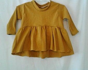 Girls ruffle shirt top mustard yellow baby toddler modern high lo long sleeve 0-3 months- 7 girls