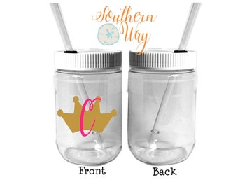 Plastic Mason Jar Cups - Party Favor - Plastic Cups - Birthday Party Favor - Baby Shower - Wedding Party Favor - Princess - Prince - Crown