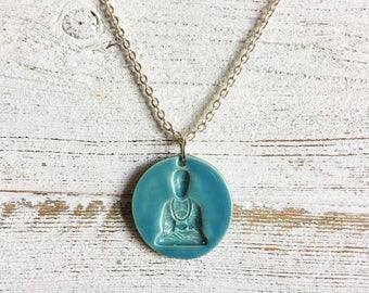 Ceramic Buddha Pendant, Caribbean Blue, Zen, Gift for Her, Gift Ideas, Buddha Jewelry, Ceramics, Ceramic Jewelry