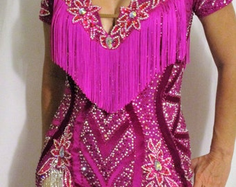 Fuschia Latin Fringe Dress