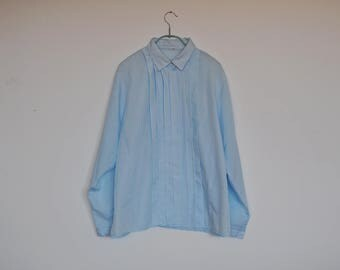 Vintage Oversized Powder Blue Longsleeve Pleated Shirt Blouse