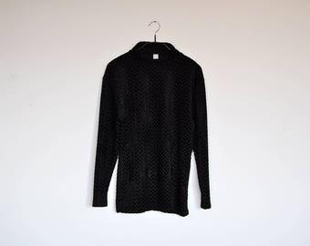 Vintage Black Crushed Velvet Oversized Long Sleeve Blouse Semi Sheer Fuzzy Zig Zag Pattern Stretchy Turtleneck Top