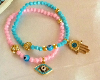 Evil eye and Hamsa bracelet , middle eastern amulet bracelet , Turkish NAZAR bracelet , Jewish protection bracelet