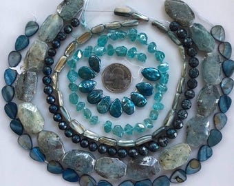 Bead Destash, Mixed Lot, Pearls,, Mother of Pearl, Kynatie, Apatite