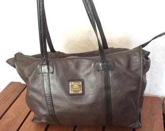 Vintage Authentic HCL Tote Brown and Black Leather Shoulder Satchel Bag Made in Germany