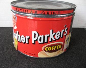 Vintage  Mother Parker's Coffee Tin, Keywind tin