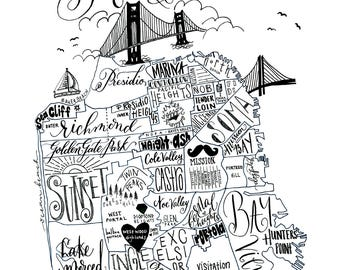 San Francisco Neighborhood Map - Hand-lettered & Printed