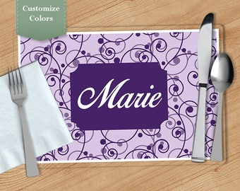 Curved Vine -  Personalized Placemat, Customized Placemats, Custom Placemat, Personalized Gift