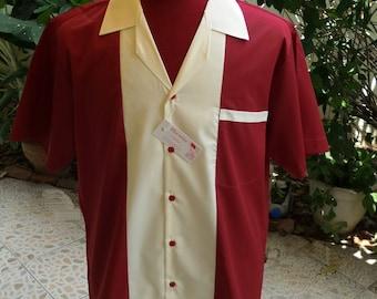 Men's Rockabilly Vintage 1950's Style Retro Bowling Shirt Burgundy & Cream