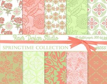 DIGITAL PAPER SALE:Peach and Green Digital Paper, Digital Scrapbook Paper, Digital Paper Floral, Coral and Green Digital Paper, #16055