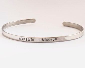 Expecto Patronum, Patronus charm, Harry Potter Bracelet, Handstamped cuff, Harry Potter Jewelry, Hogwarts school houses, Potter